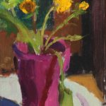 Dandelions, oil on linen on board, 4x6, 2015 available