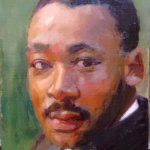 Dr. Martin Luther King Jr, oil on wood, 8x10, 2014 sold
