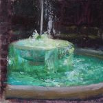 Fountain at Penn Museum, oil on masonite, 8x8, 2015 available