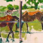 Horse Sketch from Life (Fence), oil on paper, 5x9, 2008 available