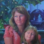Janine and Hazel, oil on wood, 16.20, 2014 portrait commission