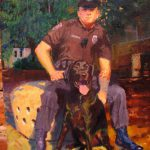 Officer Kuterbach and His Bomb-Sniffing Dog, Jake, oil on canvas, 9x12, 2008 sold