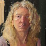 Self-Portrait Spring, oil on masonite, 7x9, 2012 sold